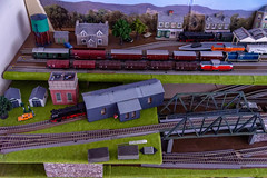 Branch line freight trains lined up waiting to head to Sylvania (lindsayholley) Tags: model railway railroad trains electric coal diesel water tank station passenger bridge track rails ballest grass green nikon d750 2470mm