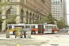 Flexible Trolley Bus (moacirdsp) Tags: flexible trolley bus one market street the embarcadero financial district san francisco california usa 1995