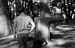 A boy (odeleapple) Tags: nikon f2 carl zeiss planar 50mm yellowfilter kodaktmax100 film monochrome analog bw boy kid shade