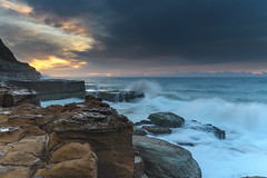 Early Morning Seascape from Sandstone Headland (Merrillie) Tags: daybreak sunrise northavoca nature water nsw centralcoast overcast rocky sea newsouthwales waves earlymorning morning rocks landscape ocean cloudy waterscape avocabeach coastal dawn outdoors seascape australia coast northavocabeach sky