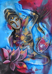 Secluded Lotus in A Deserted Valley 空谷幽莲 (dawnxisoul) Tags: painting illustration water blue leaves goddess indian koi fish lotus flower
