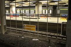 Through train stabled behind the big fence at Hung Hom station (Marcus Wong from Geelong) Tags: hongkong2019 mtr kcr kowlooncantonrailway train railway passenger throughtrain carriage hongkong masstransitrailway