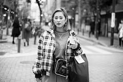 Osaka Street Portrait (Andrew Allan Jpn) Tags: street streetportrait streetfashion streetphotography streetstyle travel osaka namba japanesegirl japanesewoman monochrome greyscale blackandwhite serious happyplanet asiafavorites
