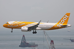 """Airbus, A320-271N, 9V-TNB, """"Scoot"""", VHHH, Hong Kong (Daryl Chapman Photography) Tags: 9vtnb airbus a320 neo a320271n 8661 tr tz tgw sco landing arrival 25r airline airlines airliner plane planespotting planephotography canon 5d mkiv 100400l tr978 aircraft aircraftphotography"""