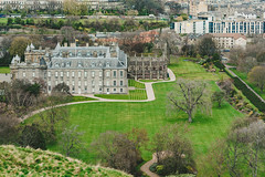 Aerial view of Holyrood Palace, in Edinburgh. (wuestenigel) Tags: ancient england edinburgh unitedkingdom holyroodpalace residential united regular scotland architecture kingdom castle canonsregular art church britain famous brick classic canons aerial cathedral residentialzone english culture elizabeth blue monarch attraction palace building official british holyroodabbey officialresidence christian classical abbey holyrood residence