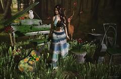 Peace ♒ (ღ Sɑrɑɑh Drɑgoone ღ) Tags: girl woman music sexy gorgeous sweet guitar piano forest outfit maitreya genus mooh tfs pose secondlife sl pic photo green bentoav mesh bento cute deco chair butterfly lamb