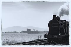 Old Carrickfergus (Mark Edgar) Tags: whiteheadrailwaypreservationsociety bw northernireland sea steamtrain castle carrickfergus