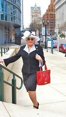 A One-Woman Easter Parade (Laurette Victoria) Tags: downtown milwaukee wisconsinavenue easter hat sunglasses suit purse laurette woman lady