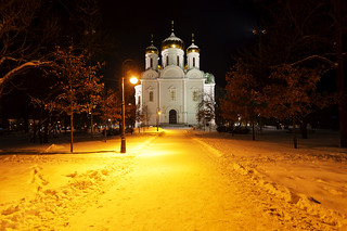 Catherine's Cathedral at night.