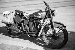 Motorbike (Rich Presswood) Tags: monochrome blackandwhite bw mono fujixpro2 fuji silverefexpro2 adobelightroom 1940s ww2 wwii crich nationaltramwaymuseum motorbike kamlan50mmf11