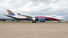 Arik Air A340-500. (spencer_wilmot) Tags: a345 a340500 lhr lhregll egll heathrow heavy airbus sideon quad widebody winglets arikair aviation jet jetliner plane passengerjet civilaviation commercialaviation aircraft airplane airliner airport airside arrival apron ramp runway w3ara w3 ara london longhaul taxiway cstfx