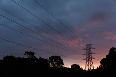 Transmission Tower Looms in the Distance (HaskelR) Tags: cables clouds looms plants power silhouette sky sunset tower transmission urban vegetation
