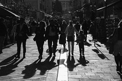 Shadows; Nice, Alpes-Maritimes, France (Michael Leek Photography) Tags: people streetphotography nice france southeastfrance mediterranean mediterraneansea europe shadows blackandwhite bw texture sun eveninglight evening sunset contrast light city town travel travel2019 french tourists easter michaelleek michaelleekphotography