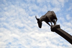 For No Apparent Reason (radargeek) Tags: northcarolina fayetteville nc 2018 august goat fornoapparentreason statue art paulhill sky clouds