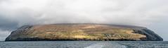 Fugloy, Faroe Islands (Esbern Christiansen) Tags: landscape nature coastline faroe faroeislands fog fugloy grassland harbour house houses kirkja mountain mountainside ocean outdoor sea town village water