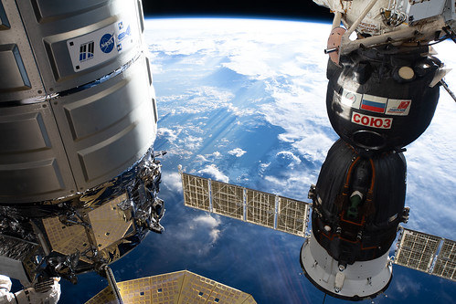 The Cygnus space freighter and the Soyuz MS-12 crew ship
