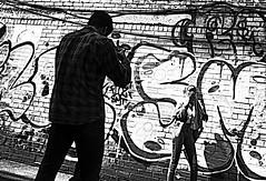 Manchester (1117) (benmet47) Tags: street city urban graffiti art wallart man woman model candid bw blackwhite