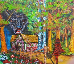 R E D (tomas491) Tags: redridinghood wolf birch forest fairytale painting mushrooms house fence