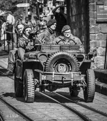 Crich 1940s Weekend 2019 pic39 (walljim52) Tags: crichtramwayvillage crich wartime event ww2 1940s actor reenactor soldier civilian uniform military mono blackandwhite jeep