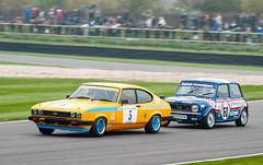 Close racing (Jez B) Tags: goodwood members meeting 2019 77 77mm mm77 grrc road racing club race competition sport motor motorsport classic historic track course circuit madgwick close ford capri mini