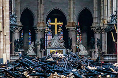 10205506cs (threetoedsloth4) Tags: cathedral notredame paris fire aftermath france 16 apr 2019 a view cross sculpture pieta by nicholas coustou behind debris inside de that devastated april started late afternoon 15 one most visited monuments french capital 79814867