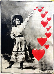 heart shooter (n.a.) Tags: poster woman gun pistol shooting hearts brick lane spitalfields london hat black white bw color colour pop red