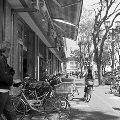 Bike shop (odeleapple) Tags: yashica mat 124g yashinon 75mm film monochrome analog kodaktmax100 bike bicycle shop