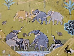 Elephants vs. Tiger (pburka) Tags: samodepalace samode mural wall painting art elephant tiger fighting mughal rajasthan