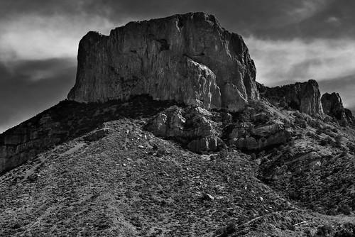 A Shadow Cast Across the Side of Casa Grande (Black & White, Big Bend National Park)