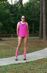Color Me Pink (SissyTvinhose) Tags: sissy sissies pantyhose public pansy pink leotard leg warmers crossdresser crossdressing cd tvinhose transvestite high heels