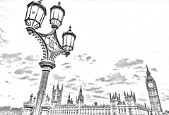Parliament & light post (drawing filter) (cmfgu) Tags: mug yogamat craigfildesfineartamericacom fineartamericacom craigfildes artist artistic photographer photograph photo picture prints art wall canvasprint framedprint acrylicprint metalprint woodprint greetingcard throwpillow duvetcover totebag showercurtain phonecase sale sell buy purchase gift london england unitedkingdom uk greatbritain europe palaceofwestminster housesofparliament bigben westminsterbridge lamp light post sunset clouds hdr highdynamicrange sky bw blackandwhite monochrome drawing filter