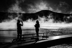 Tourists (Kevin Rodde Photography) Tags: silhouette tourists yellowstone yellowstonenationalpark spring grandprismaticspring boardwalk wyoming canon eos6d 6d kevinroddephotography kevinrodde