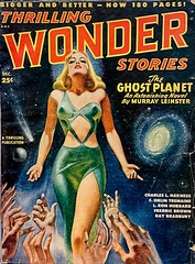 Thrilling Wonder Stories, Vol. 33, No. 2 (December 1948).  Cover Art by Earle Bergey. (lhboudreau) Tags: pulpart magazine magazines pulpmagazine pulpmagazines pulpmagazineart magazinecover magazinecovers magazineart magazinecoverart pulp pulps pulpmagazinecover pulpmagazinecovers thrillingwonderstories thrillingwonder volume33number2 1948 december1948 bergey earlebergey thrillingpublication sciencefiction babe babes pulpfiction athrillingpublication illustration drawing theghostplanet ghostplanet murrayleinster goodgirlart gga fruitsoftheagathon charleslharness hand hands green blonde sexyblonde