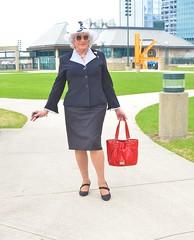 Where Are My Loyal Fans? (Laurette Victoria) Tags: suit purse hat silver sunglasses laurette woman milwaukee downtown