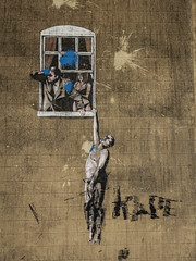 Banksy - Well Hung Lover - Bristol, UK (phil_king) Tags: banksy bristol art painting mural graffiti well hung lover wall window england uk west country modern