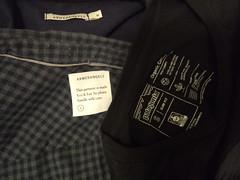 Who made my Clothes? (fraktalisman) Tags: fashion fashionrevolution fashionrevolutionweek fashionrevolutionweek2019 whomademyclothes slowfashion greenfashion fairfashion armedangels patagonia label shirt black checked tshirt blue
