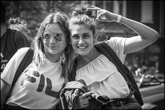 Photo! (Chris 1971) Tags: lady girl woman vrouw female brighteyes amsterdam spontaneousposing sunglasses fila portrait portret smiling glimlach lach