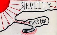 Deep State (Cave Within The Cave) (Daniel Ari Friedman) Tags: red color black drawing draw doodle sketch paper ink pen philosophy science cartoon deep state deepstate reality platoscave platos plato cave government