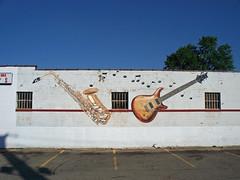 OH Hamilton - Mural 6 (scottamus) Tags: hamilton ohio butlercounty mural painting art building wall graffiti musical instruments sax saxophone electric guitar