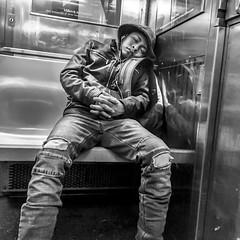 Sleeping on the train (Capitancapitan) Tags: sleeping train peope subway nyc new york neury luciano el mundo gira pentax black white manhattan walk camera street photography urim y tumim pop rock cantautor
