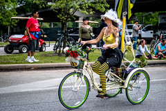 Bee Biker Girl (burnt dirt) Tags: houston texas art car parade street streetphotography candid portrait woman man girl sexy boobs young latina asian blonde brunette redhead tights leggings yogapants city town couple lovers friends tattoo downtown pretty beautiful selfie fashion style people person costume cosplay bokeh outdoor shadow sunny rainy documentary xt3 fujifilm cute boots heels skates ponytail long short hair model park bike bicycle tricycle bee bumble yellow black