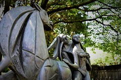 art (sabinakurt_photo) Tags: art sculpture statue garden green palacehotel como italy europa europetrip sabinakurtphotography nikon man woman horse
