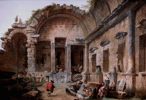 IMG_2050A Hubert Robert 1733-1808 Paris Le temple de Diane à Nîmes. Interior ot the Temple of Diana at Nîmes 1783 Madrid  Musée Thyssen Bornemisza