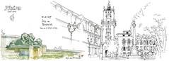 Aix-en-Provence (gerard michel) Tags: france provence aixenprovence fontaine lion hôteldeville place sketch croquis architecture aquarelle watercolour