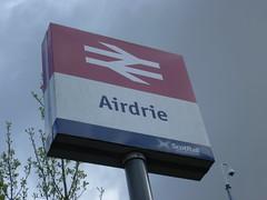 Airdrie, Lanarkshire (calderwoodroy) Tags: nationalraillogo formerbrlogo railwaystation station scotrail airdrie stationsign sign monklands northlanarkshire lanarkshire scotland
