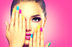 Beauty girl face with colorful nail polish (david.dandanell) Tags: beauty girl colorful nails nailpolish bright makeup face manicure pink background beautiful blue color colour colourful eye eyelashes fashion female fingers foundation funny half hands holiday long make mascara model nail palms party person polish portrait purple rainbow salon sexy skin style up varnish vivid vogue woman yellow ukraine