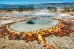 Hot springs in Yellowstone (ValterB) Tags: 2012 nikond90 usa roadtrip yellowstone valterb view nikkor nature hot landscape light water spring boiling sky skyline tree travel trip tourism trees blue