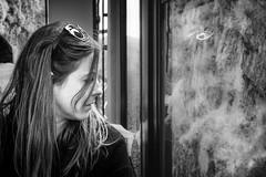 Hair (Мaistora) Tags: portrait face hair streak candid street train cinematic bw bnw blackandwhite mono monochrome film analog silver contrast grain sunglasses window reflection dof focus defocus blur bokeh sony alpha ilce a6000 zeiss sel24f18 sonar t lightroom