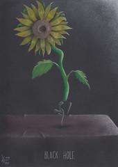 Black hole (Klaas van den Burg) Tags: humor absurd black hole sunflower table colored pencils pastel