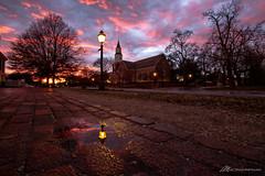 Twilight in Williamsburg (Matt Straite Photography) Tags: church history historical viginia old colonial williamsburg outdoor sunset sky clouds color reflection llight tripod rain minstrel street